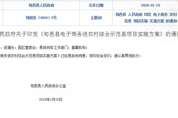 《旬邑县电子商务进农村综合示范县项目实施方案》的通知